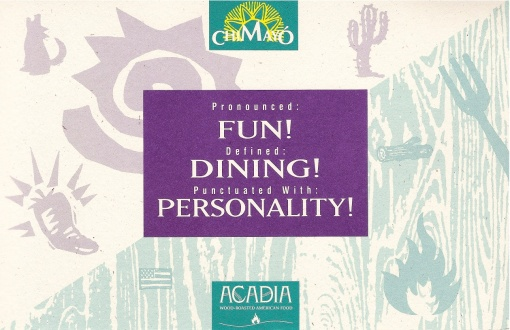 Chimayo & Acadia Restaurants Piggyback Direct Marketing Mailer Design by Circle R Brands