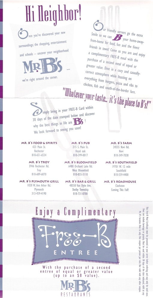 "Mr. B's Restaurant Group ""Free-B"" Direct Marketing Mailer/Offer Design by Circle R Brands"
