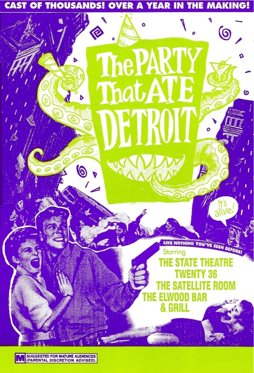 "State Theater | ""The Party That Ate Detroit"" Event: Direct Marketing Mailer Design by Circle R Brands"