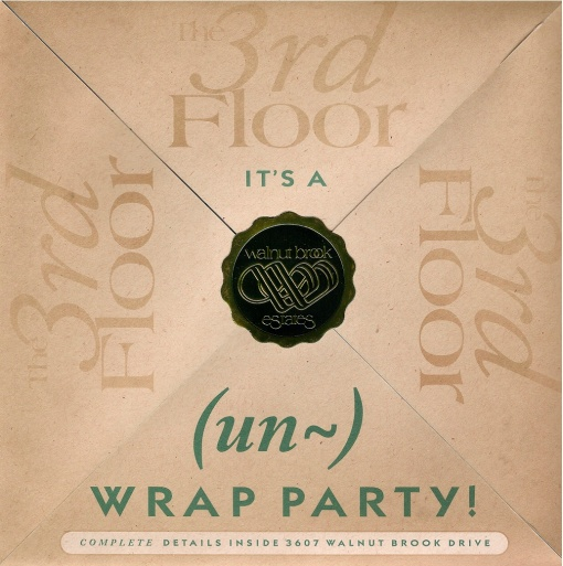 "Walnut Brook Estates ""Un-Wrap Party"" Direct Marketing Invitation Design by Circle R Brands"